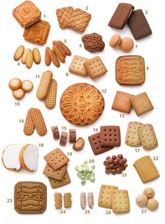 Different types of biscuits Japanese Cookies, Japanese Sweets, Cookie Box, Cookie Gifts, Biscuits, Cake Packaging, French Pastries, Holiday Cakes, Macaron