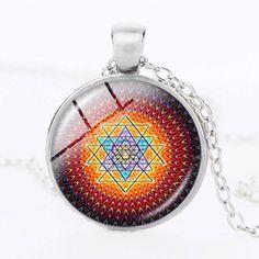 Mandala Glass Yoga Pendant Necklace Sacred Geometry Black Design
