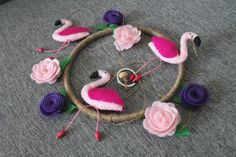 Flamingo Felt Mobile Roses Pink Handmade Mobile Kids, Mobiles For Kids, Felt Mobile, Baby Crib Mobile, Felt Roses, Pink Roses, Pink Flamingos, Embroidery Thread, Girl Nursery