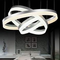 261.60$ Watch now - http://aliw4u.worldwells.pw/go.php?t=32482996067 - modern led crystal pendant light 2 3 ring for living dining room kitchen Circles Suspension pendant lights fixture lamp lighting 261.60$