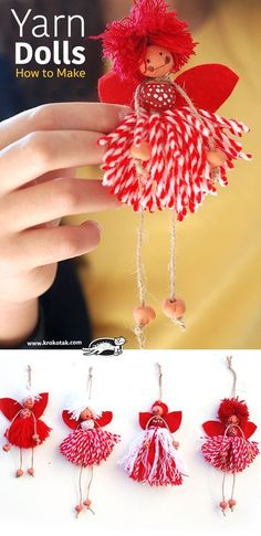 How to Make Yarn Dolls-aMuse Journey activity.How to Make Yarn Dolls. Another cute Christmas ornament that would be fun to make with the grandkids.children activities children activities more than 2000 coloring pagesreborn baby dolls pre owned CLICK Pom Pom Crafts, Yarn Crafts, Diy Crafts, Hobbies And Crafts, Crafts To Make, Crafts For Kids, Christmas Crafts, Christmas Ornaments, Christmas Stuff