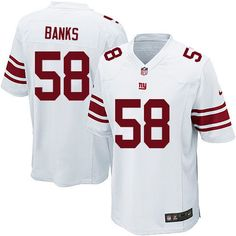 Nike Limited Carl Banks White Youth Jersey - New York Giants #58 NFL Road