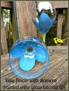 Blue flower with stamens painted wine glass tutorial