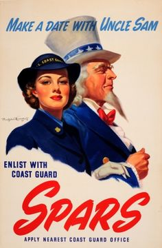 Date With Uncle Sam Coast Guard WWII USA 1944 - original vintage World War Two USCG SPARS recruitment poster by Bradshaw Crandell listed on AntikBar.co.uk