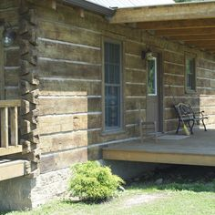 This looks like a log cabin, but actually it's concrete! Way less maintenance but looks just as cool!