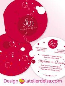 Faire part rond champagne bulle création sur mesure Faire part mariage www.latelierdelsa.com