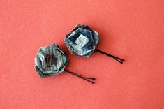 Cute Rosette Bobby Pins | 12 Creative Ways to Repurpose Newspaper