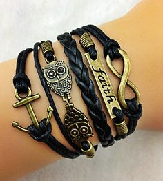 NEW Black Anchor Owl Faith Infinity Bracelet, Multi Wrap Bracelet, Black Leather Bracelet