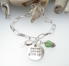 DARK GREEN - Awareness Bracelet Support Jewelry Gift - Never Never Give Up - Kidney Disease, Cerebral Palsy, Organ Donor, Liver Cancer on Etsy, $10.99