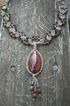 beaded macramé necklace with stone cab...