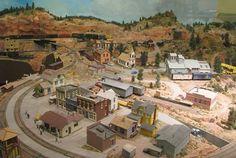 Model railroad exhibit in the J. Warren Brinkman Train Room
