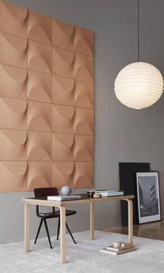 Beautiful acoustic wall made of cork. Acoustic Wall Panels, Acoustic Design, 3d Wall Panels, Office Walls, Wall Patterns, Interiores Design, Wall Design, Wall Decor, Decoration