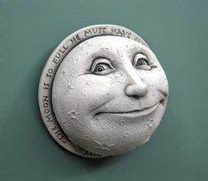 Hand Cast Stone A Child's View Of The Moon - Collectible Celestial Smiling Face Plaque - Concrete Home Or Garden Sculpture - Designer White Finish Sun Moon Stars, Sun And Stars, Vintage Moon, Moon Pictures, Good Night Moon, Moon Magic, Cast Stone, Moon Design, Moon Art