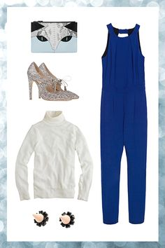 Whistles Cat Leather Clutch, $123.18, available at ASOS; Zara Backless Jumpsuit, $99.90, available at Zara; Joomi Lim Pretty in Punk Crystal Stud Earrings with Spikes, $88, available at Joomi Lim; J.Crew Merino Wool Turtleneck Sweater, $85, available at J.Crew; Bottega Veneta Closed Toe, $750, available at Shoescribe.