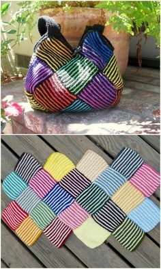 Crochet Folding Bag Free Pattern - Source by uurak Accessories Loom Knitting, Knitting Patterns Free, Free Knitting, Free Pattern, Crochet Patterns, Knitting Tutorials, Pattern Sewing, Knitting Machine, Purse Patterns