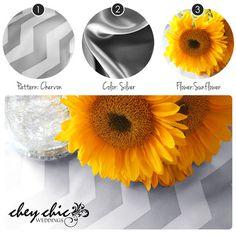Chevron, Silver Satin and Yellow Sunflowers -- Chey Chic Weddings