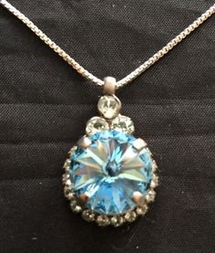 Sorrelli Swarovski Crystal Pendant Necklace Blue Round Crystal Sterling Silver  #Sorrelli #Pendant