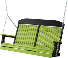 4' Classic Highback Swing shown in Lime Green & Black.