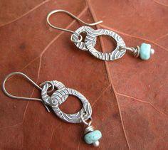 fine silver double hoop earrings with blue lampwork bead
