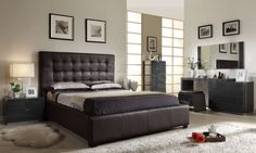 Athens 5 PC Brown Bedroom Set (Bed, Nightstand, Dresser, Wall Mirror and Stool)