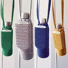 Crochet Pouch, Crochet Cross, Crochet Gifts, Square Water Bottle, Cotton Crochet Patterns, Water Bottle Holders, Cup Holders, Pouch Pattern, Ravelry