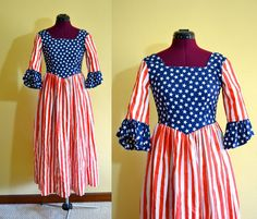 1970s Vintage Stars and Stripes Dress size by TabbysVintageShop, $55.00