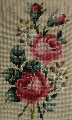 Preworked Handmade Needlepoint Tapestry FLORAL Petitpoint Canvas by Poman International, Inc. Purchased my needlepoint canvases in the mid Cross Stitch Borders, Cross Stitch Rose, Cross Stitch Flowers, Cross Stitch Charts, Cross Stitch Designs, Cross Stitching, Cross Stitch Patterns, Rose Embroidery, Cross Stitch Embroidery
