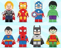 Lego Digital Clipart Lego Superhero Clipart by Cutesiness on Etsy Más Spider Man Party, Fête Spider Man, Lego Avengers, Avengers Birthday, Lego Marvel, Superhero Birthday Party, 6th Birthday Parties, Boy Birthday, Birthday Ideas