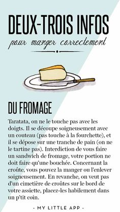 Petit cours de bonnes manières à table French Cafe, Love French, French Stuff, French Phrases, French Quotes, French Teacher, Teaching French, Teaching Culture, French Practice