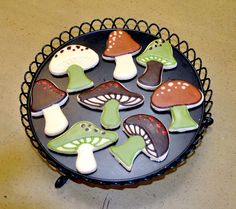 Woodland Mushrooms Hand Decorated Cookies  1 Dozen by baked, $32.00