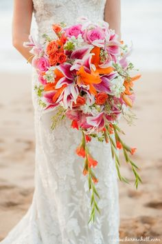 colorful tropical bridal bouquet, pink and orange wedding bouquet, wedding by Simple Maui Wedding Bouquet Bride, Lily Bouquet Wedding, Bridal Bouquet Pink, Orange And Pink Wedding, Orange Wedding Flowers, Orange Pink, Magenta, Tropical Wedding Bouquets, Tropical Weddings