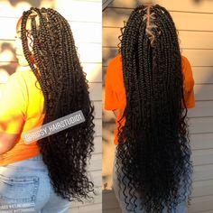 Braids Atlanta Hair Stylist on Goddess Curly Braids rissythe. Atlanta Hair Stylist on Goddess Curly Braids rissytheatlstylist Curly Braids, Braids With Curls, Braids Wig, Braids For Black Hair, Twist Braids, Dutch Braids, Havana Twists, Braids Easy, Long Box Braids
