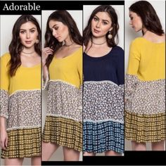"""MIXED PRINT PEASANT DRESS IN AVOCADO OR NAVY This dress is adorable! Mixed print layers create fun for your closet. Pair with leggings, capris or just wear as a mini. Very comfy, polyester blend. NWOT XL: bust 43"""" 1X: bust 44""""                                                                            ♦️AVOCADO: one XL♦️NAVY: three XL & two 1X tla2 Tops"""