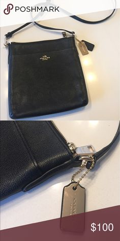 Coach cross body bag ❤ Courier cross body in crossgrain leather. Worn once. Simple and classic. Bags Crossbody Bags