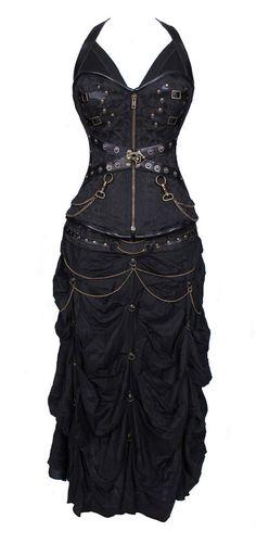 100% Poly Brocade Gothic Overbust Corset Dress door VionaBurlesque