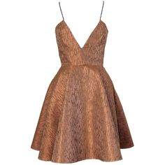 Joana Almagro Vionette Bronze Low Neck and Low Neck Dress (2.005 BRL) ❤ liked on Polyvore featuring dresses, vestidos, short dresses, robe, bronze, backless mini dress, short summer dresses, summer day dresses, short brown dress and striped mini dress
