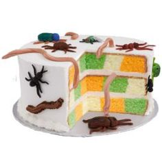 Everyone just loves creepy crawly things on Halloween. This cake should please all. Worm, beetles, spiders and ants in red and black. A great dessert and conversation starter.