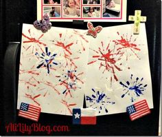 Create fireworks by splattering red, white, and blue paint... This would be great on a different color so you could see the white better. Good kids craft for Memorial Day or 4th of July.
