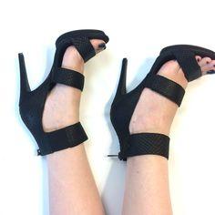 Black Wide Ankle Strap Heels