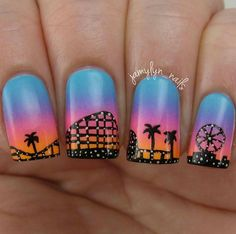 Today is Rollercoaster Day. Show your love for this thrill with your nail art. Where's your favorite rollercoaster ride? Let us know in the comment section below. :@jamylyn_nails #rollercoaster #rollercoasternails #rollercoasterday