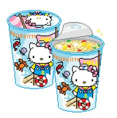 pretty-transparents: hello kitty seafood cup noodle ゚*。:゚+ Pixel Art Food, Anime Pixel Art, Anime Art, Pixel Kawaii, Overlays, Foto Gif, Gifs, Pixel Image, Sanrio Characters