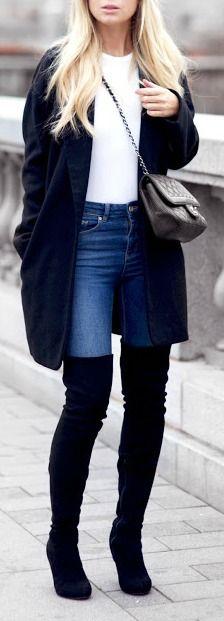 OTK boot + maxi cardigan.