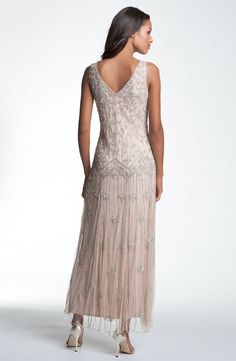 pisarro nights v-neck beaded sequin gown - Idées De Mariage Mother Of The Bride Fashion, Mother Of Bride Outfits, Mother Of Groom Dresses, Bride Groom Dress, Mothers Dresses, Mob Dresses, Tea Length Dresses, Bridal Dresses, Pretty Dresses