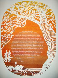 Cherry Tree Ketubah with Lotus and Double Happiness by jerise, $375.00  An example only - will do custom painting