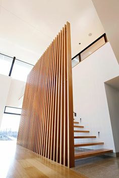 Balustrade Design-Vertical timber battens on stainless steel frame and stanchions Timber Battens, Balustrades, Timber Cladding, Cladding Ideas, Timber Walls, Wall Cladding, Balustrade Design, Staircase Design, Staircase Ideas