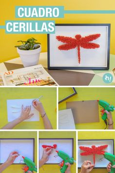 Cuadro de cerillas ➜  Busca cerillas y crea tu propio cuadro decorativo con la forma que quieras.  #DIY #Decoración #Habitaciones #Handfie