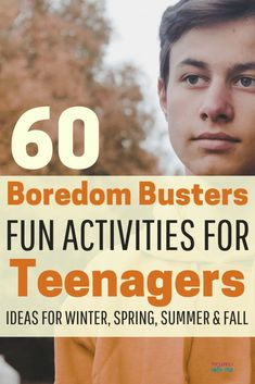 Boredom busters for teenagers. These awesome activities will give your teen things to do alone or with a group of friends. Get tips to help your teens make a bucket list to keep them busy winter, summer, spring, and fall. # indoor activities for teens Teen Boy Activities, Summer Activities For Teens, Fun Activities To Do, Games For Teens, Indoor Activities, Indoor Games For Teenagers, Outdoor Activities For Adults, Family Activities, Fun Games