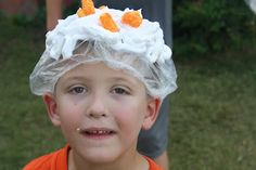 Cheeseball Toss:  Kids (and adults, if they want) pair up. One person puts on a shower cap with shaving cream piled on top, while the other stands several feet away and throws cheeseballs at their head. The person with the most cheeseballs stuck to their head at the end of the game wins!