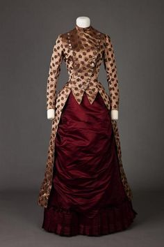 Dress, 1885-1886. Love the cut and the contrasting fabrics.