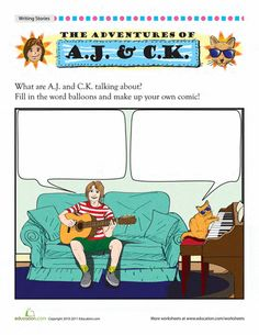 Worksheets: Cat Comics: Jam Session. Could older art students create comic frames and younger writing students write the words?